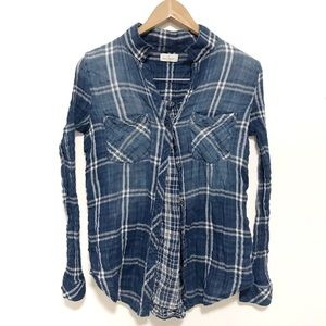 Thread & supply plaid blue button up shirt